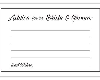 Guajolote Prints Wedding Advice Cards for The Bride & Groom 24 Count Party Favors