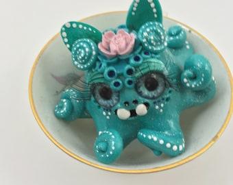 Bell the blue rose sprite tea cup littling // ooak art toy sculpture kawaii creepy cute creature