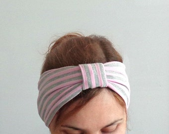 headwrap turban women headband mommy and me headband baby turban headwrap summer head band fashion hair cover light pink silver stripes