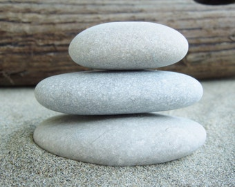 3 Stacking Beach Stones, Stackable Beach Stones, Lake House Decor, Beach Decor, Display Pieces, Lake Erie Stones, Coastal Living Decor L252