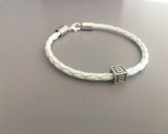 FREE SHIPPING BRACELET, letter men bracelet, personalized bracelet with alphabet letters, for boy, custom bracelet, eco leather