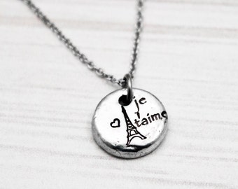 Je T'aime - Hand Stamped Dainty Pewter Necklace - Hand Stamped Jewelry - Eiffel Tower Jewelry - Gift for Mother, Daughter, Sister, Wife