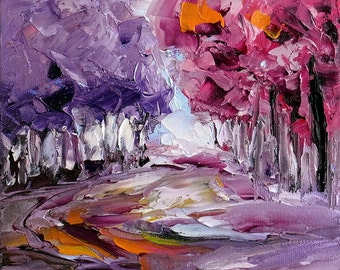 "Purple Tree Landscape Small Abstract Art Original Oil Painting Palette Knife Textured Impasto 6x6"" Canvas Panel"
