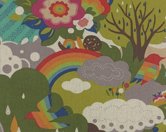 Moda-Flying Colors by Momo Scenic Textured Linen 33060-11 in Clover by  the Yard