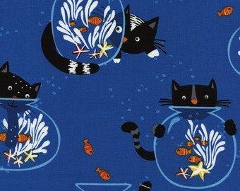 Timeless Treasures-Cats & Fishbowls C4656 in Royal Blue