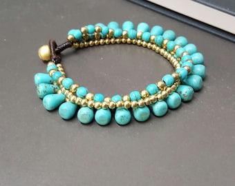 Drop Turquoise Chain Bracelet