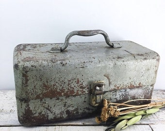 Christmas in July Large Vintage Silver Rusty Tiered Toolbox