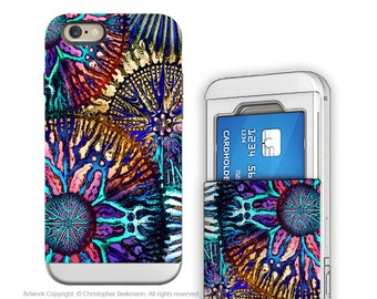 Abstract Art iPhone 6 6s Card holder Case - Cosmic Star Coral - Artistic Credit Card Wallet iPhone 6s Case with Rubber Sides