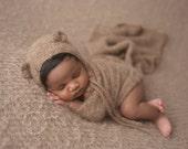 Knit alpaca wrap and bear bonnet set Newborn photo prop preorder UK seller