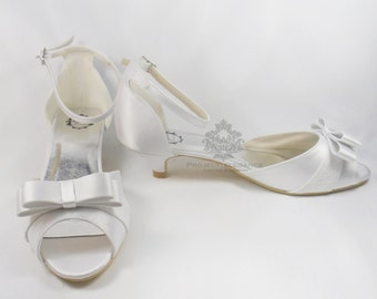 Thea - Ivory or White Sandal Peep Toe 1, 2, 3, 4, 5  Inch Mid Kitten Heel Shoes US Size 5 6 7 8 9 10