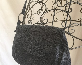 SALE * Black and Grey Pismo Bag, Small Purse, Across the body bag