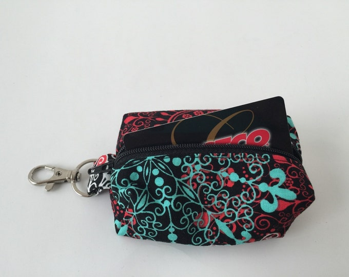 Zippered Keychain Pouch, Coin Purse, Card Holder, Tissue holder, Dog walking bag