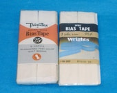 Vintage Cotton-Polyester Wide Bias Tape  - 2 Packages - White, Oyster - 1 Inch Wide, 3 Yards Long - New in Package - Destash