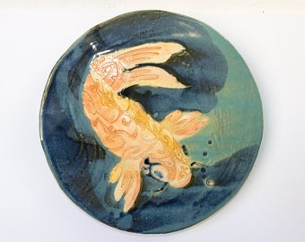Fine Art Koi Fish, Home or Garden Decor Plate