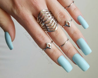 Matte Powder Baby Blue Pantone Color of the Year Fake Press On Nails - Stiletto, Oval, Square, Coffin/Ballerina
