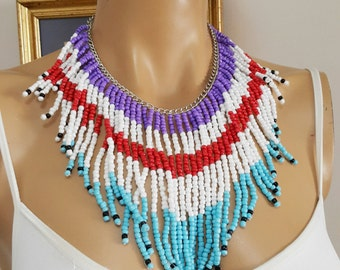 Turquoise Purple Red White fringe necklace Beaded Neckaces, Wedding Bridal Necklace, Bridesmaid Necklace, Elegant Bib Necklace