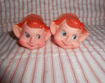 Two New/Old Stock Rubber Pixie/Elf Heads