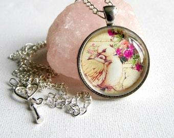 Lovebirds Necklace, Vintage Style Necklace, Gift Ideas, Love Token, BIrd Necklace