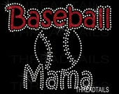 Baseball Mama t-shirt - Sparkly Glitter Rhinestone ball tee for mom, mother. Tee, top, team support for practice, games, sporting events.