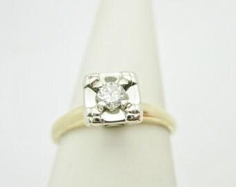 14k ANTIQUE 3.5 mm Brilliant Diamond PRINCESS Setting ENGAGEMENT Ring Size 8 r036