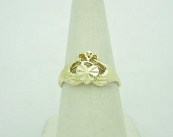 Loyalty Love And Friendship 14K IRISH Claddagh Diamond Cut Heart ENGAGEMENT Ring Size 8 r567 IRELAND