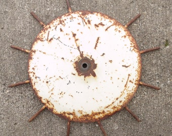 Vintage, White, Rusty, Tines, Sun, Farm, Cultivator, Tractor, Round, Wheel, Salvaged, Steampunk,  Assemblage, Sculpture, Metal
