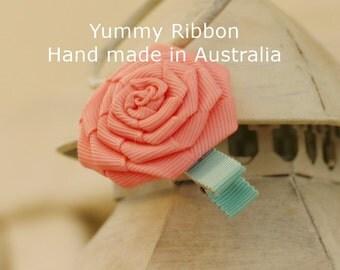 Pink Rose hair clip / handmade ribbon clip / toddler hair clip / kids hair clip / infant hair bow / ribbon hair bow / girls hair clip