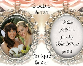 Double-Sided Maid of Honor Bouquet Charm - Personalized with Photo - Maid of Honor today, best friend for life