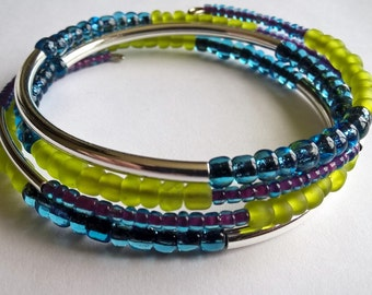 Lime Green, Blue, Purple Seed Beads with Metal Tubes Memory Wire Bracelet