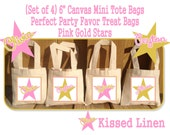 """Personalized Pink Gold Star Birthday Party Favor Bags Pink Gold Stars Treat Gift Bags Mini 6"""" Natural Cotton Totes Kids Party Bags Set of 4"""