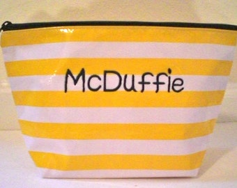 Yellow Stripe XL Cosmetic Bag Monogrammed oilcloth