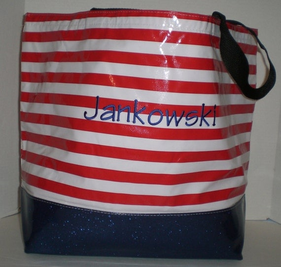 Red and White Stripe Beach Bag with blue vinyl sparkle bottom Monogrammed Oilcloth