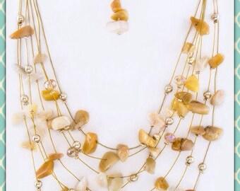 Layered Floating Aventurine Stone Necklace