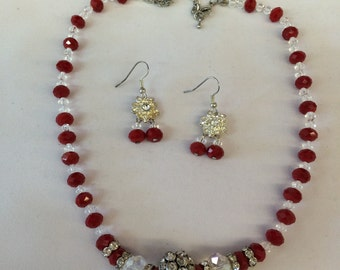 Handmade Red and White Crystal Necklace and Earrings Set