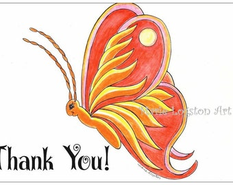 Butterfly /Sun Thank You Cards - Greeting Cards - Note Cards with White Envelopes.