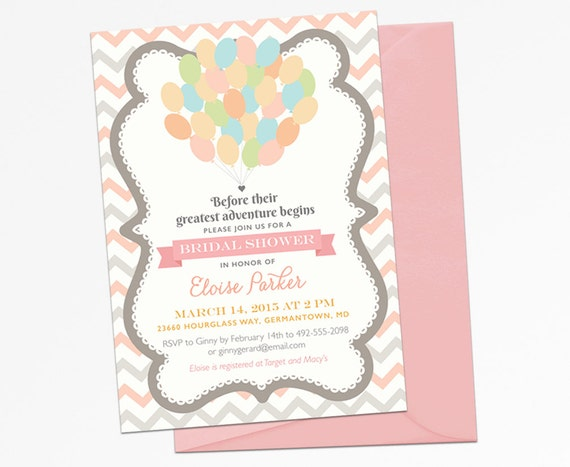 Up Themed Wedding Invitations: Disney UP Wedding Bridal Or Baby Shower Printable Invitation