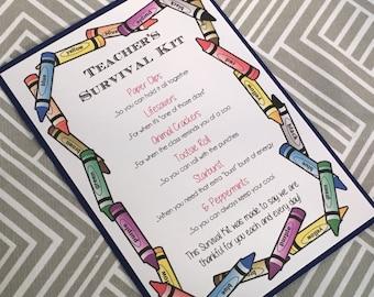 Teachers Survival Kit  - 5x7 - Postcard - Hard Copy