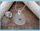 sea glass jewelry - sea glass necklace - heart necklace on bail - wedding jewelry - sterling silver