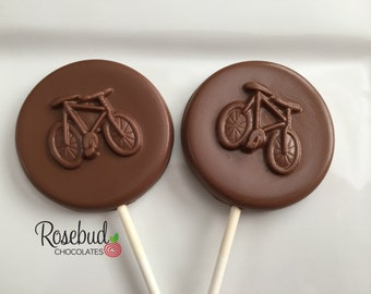 12 Chocolate Bicycle Lollipop Favors Bike Cyclist Birthday