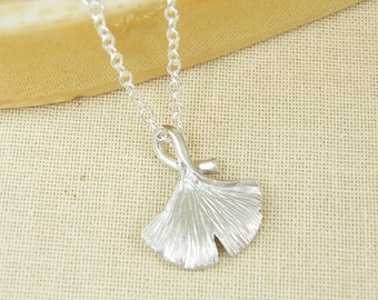 Silver Ginko Leaf Necklace Matte Silver Ginko Leaf Pendant Necklace Silver Ginko Leaf Charm Necklace Simple Nature Jewelry |NB2-7