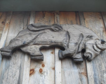 Vintage Bull Wood Carving