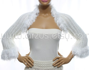White Wedding Shrug Bridal Shrug Knit Shrug Bridesmaid Gift Evening Shrug Bridal Bolero Jacket Bridal Cover Up Wrap Shawl Weddings Clothing