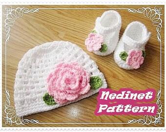Crochet pattern, Crochet baby hat crochet shoes set PATTERN, crochet hat pattern, crochet slippers, crochet baby shoes pattern, 0-12 months