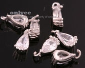 4pcs-7.5mmX3.5mmSmall Bright Rhodium Faceted tear drop Cubic with rim Charms-Clear(M388S-A)