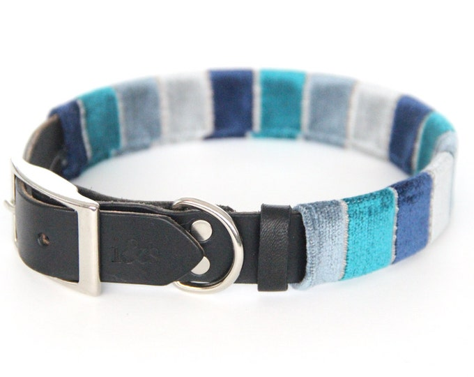 Leather Dog Collar with Textile Sleeve // Blue Velvet Ombre // Optional ID Tag