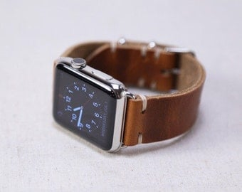 Apple Watch Band- Custom Wearable Technology: Horween Leather Strap in English Tan, Apple Watch Adapters, Metal Slides