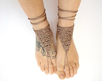 BOHO barefoot SANDLES crochet barefoot sandals bottomless shoes women hippie anklet jewelry foot thongs sexy foot jewelry