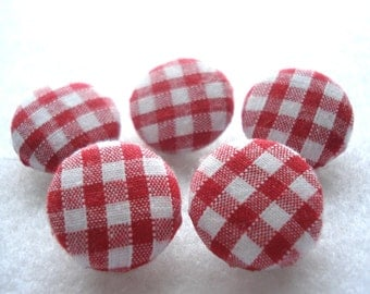 Handmade Fabric Buttons 19mm Red Gingham Buttons Pack of 5 Red Fabric Buttons