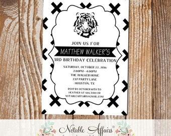 Black and White X Cross Tiger Minimalist Birthday invitation - black and white Tiger Birthday Party - modern minimal birthday - any age