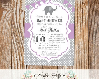 Gray and Lavender Polka Dot Elephant Modern Baby Shower Birthday Invitation with bunting - choose colors